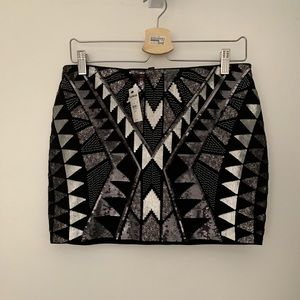 Express Sequin Stretch Mini Skirt, NWT Small